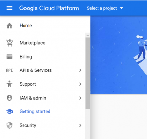 Select a project in Google Cloud Platform Console