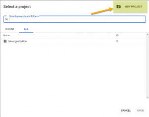 Create a new Google Cloud Platform project