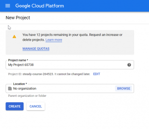 Creating a new project in Google Cloud Platform Console