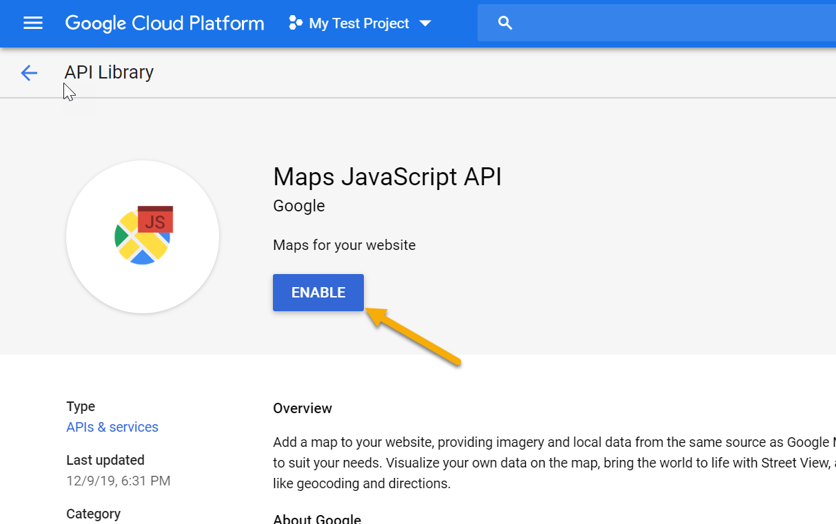 Enable Google Maps API Step 3