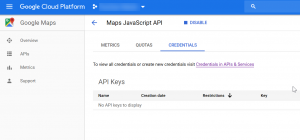 Setting up credentials on your Google Maps API step 2