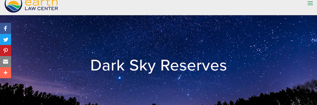 Earth Law Center page header with a starry sky and the ELC logo