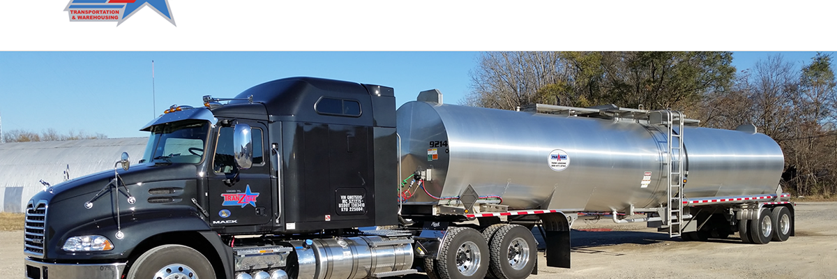 Tranzstar home page featuring a semi truck with a tanker trailer